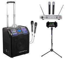 Vocopro Lightshow Bluetooth Karaoke Machine System+2) Wireless Mics+Tablet Stand