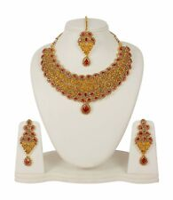 5054 Indian Fashion Jewelry Necklace Set Gold Plated Bollywood Wedding Earrings