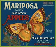 "RARE OLD ORIGINAL 1931 GOLDEN BUTTERFLY ""MARIPOSA"" APPLES BOX LABEL YAKIMA WASH"