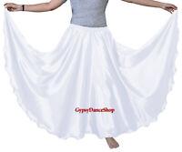 White 360 Full Circle Satin Skirt Long Swing Belly Dance Costumes Jupe Röcke ATS