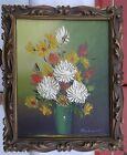 """FLOWERS VASE Mid-Century art Vintage Old Oil Painting on canvas 10""""x12"""" signed"""