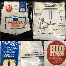 Vtg (1977) Sealed Mens 3pk Hanes Boxers Size 58 Original Packaging Usa Rare