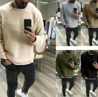 Men Causal Winter Crewneck Pullover SweaterCotton Soft SoildColor Loose Knitwear