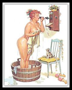 SEXY PIN UP IN THE BATH TUB BATHROOM TOILET EN SUITE METAL PLAQUE TIN SIGN 090
