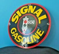 VINTAGE SIGNAL GASOLINE PORCELAIN GAS MOTOR SERVICE STATION PUMP SIGN