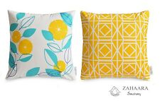 2 x Aqua/Turquoise & Yellow Throw Pillow Cases Geometric, Floral Cushions Cotton