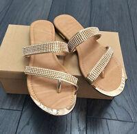 SALE Ladies Gold Toe-Post Diamonte Sandals / Flip Flops BNIB Size 4