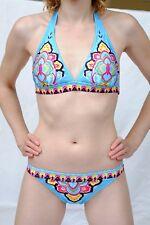 BNWT Lined Spandex Bikini Set. Large UK 10-12 blue