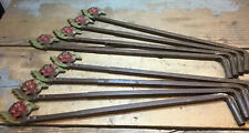 8 (4 Pair) Vintage Victorian Swing Arm Curtain Rods Cast Iron Flower