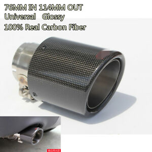 "3"" Inlet 4.5"" Outlet Real Carbon Fiber Glossy Auto Car Exhaust Tips Muffler Pipe"