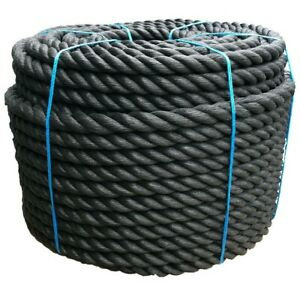 50mm Black Decking Garden Outdoor Handrail Barrier Rope Ropes Select Your Length