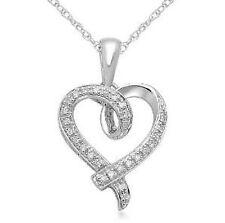 """10K White Gold Heart Diamond Pendant Neckalce 18"""""""