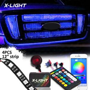 Bluetooth Grille LED Exterior Multicolor Strip Light Kit for Car Waterproof 4pcs