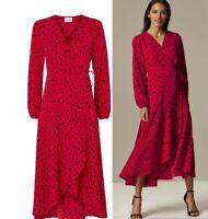 WALLIS PETITE Red Polka Dot Print Wrap Midi Dress Sizes  8-10-12-16-18