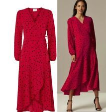 WALLIS PETITE Red Polka Dot Print Wrap Midi Dress Sizes  8-10-12-16-18