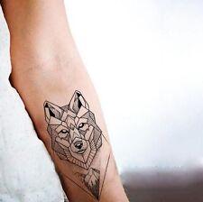 Waterproof Temporary Fake Tattoo Stickers Grey Geometric Wolf Mountain Forest