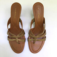 Cole Haan Gold Leather high heel mules sandals-11M Lovely