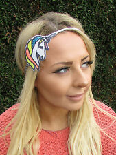 White Silver Sequin Unicorn Headband Hair Band Headpiece Festival Boho Blue 1973