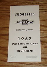 1957 Chevrolet Suggested Delivered Prices Passenger Cars & Equipment Brochure 57