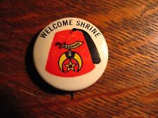 Shriners AAONMS Fez Lapel Pin - Vintage 1920's-30's Welcome Shrine Mystic Button