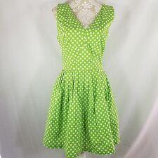 PUG Pinup Girl Clothing Couture 2XL Green White Polka Dot Dress Lime Fizz
