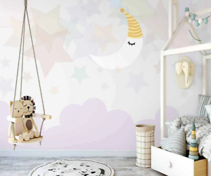 3D Cartoon Moon Star Self-adhesive Removable Wallpaper Murals Wall Sticker 1
