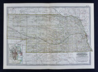 1902 Century Atlas Map Nebraska Omaha Kearney Lincoln City Columbus Hastings