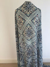 Printed Moroccan Tile Design with Woven Lurex Stripe on Crinkled Chiffon Fabric