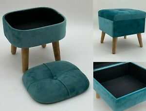 Deluxe Ottoman Footstool With Storage Hand Made Lounge Padded Foot Stool Velvet
