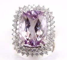 Huge Radiant Kunzite & Diamond Cocktail Ring 14k White Gold 20.94Ct
