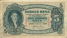 More details for norway p.7c 1940 5 kroner banknote avf/vf