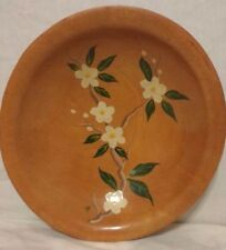 Munising 3-Legged Wooden Bowl with Flowers and Leaves Antique Dish Wood