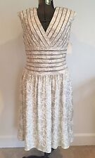 Adrianna Papell Dress Women's 14 NWT Champagne Brocade Evening Gown