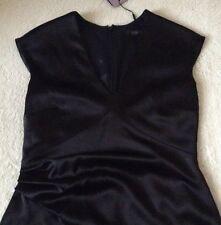 Beautiful *COAST* Zola Dress ,Black Satin  (size Uk 12 ) bnwt