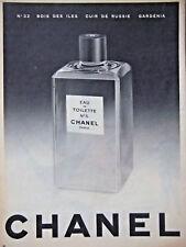 PUBLICITÉ DE PRESSE 1954 EAU DE TOILETTE N°5 CHANEL N°22 BOIS DES ILES GARDÉNIA