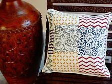 2 Pcs Indian Hand Block Print Canvas Cushion Cover 16x16 Decorative Pillow Case