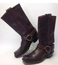 Dan Dino Rare USA Brown Leather Square Toe Harness Boots size Boys 4 Vintage