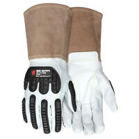Mcr Safety 48406M Leather Gloves,White,M,Pk12