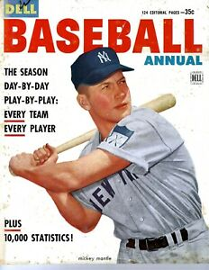 1953 Dell Baseball Annual 1952 Mickey Mantle on the cover - WOW