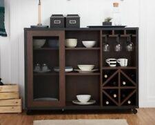 Liquor Storage Cabinet Mini Bar Cart Kitchen Buffet Sideboard Wood Dining Server