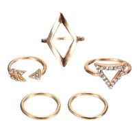 5pcs/Set Urban Luck Geometry Mid Midi Above Stack Knuckle Finger Ring Rings DIY