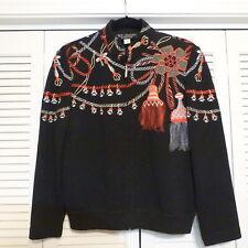 St. John Collection Wool Blend Black Christmas Zip Front Cardigan Sweater sz 8