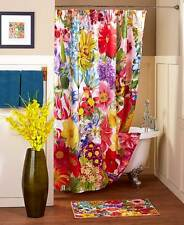 Springtime Floral Jumble Shower Curtain Towels Rug Colorful Blooms Bath Set