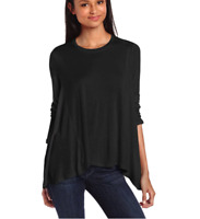 BCBG Max Azria Astril Scarf Hem Top Womens L Black Long Sleeve Hi-Lo Knit Tunic