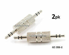 2-PACK 3.5mm Stereo Male to Male Audio Gender Changer Adapter, GC-206-2