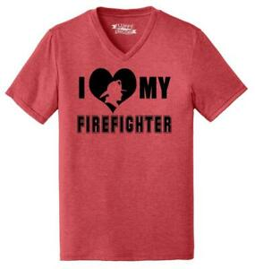 Mens I Love My Firefighter Triblend V-Neck Wife Girlfriend Mom
