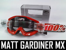 100% PERCENT STRATA MOTOCROSS GOGGLES FIRE RED with SMITH ROLL OFF CANISTERS tvs