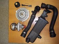 Bmw E46 Water Pump Fan Clutch Coolant Tank Upper Lower Radiator Hose kit set