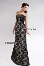 MAKE A STATEMENT! GOLD-BEADED BLACK LACE FORMAL/EVENING/PROM/BALL GOWN AU 8/US 6