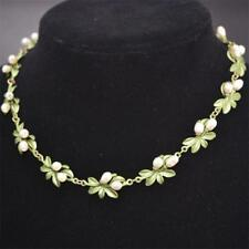 Hot Fashion Natural Pearls Green Leaf Collar Lady's Necklace